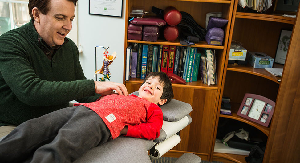 Pediatric chiropractics on child
